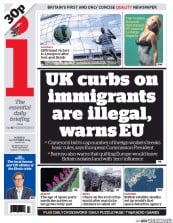 I Newspaper (UK) Newspaper Front Page for 20 October 2014