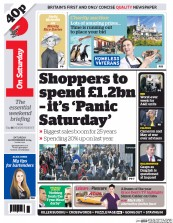 I Newspaper (UK) Newspaper Front Page for 20 December 2014