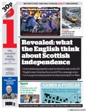 I Newspaper (UK) Newspaper Front Page for 20 August 2014
