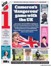 I Newspaper (UK) Newspaper Front Page for 21 April 2015