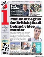 I Newspaper (UK) Newspaper Front Page for 21 August 2014