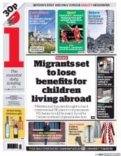 I Newspaper (UK) Newspaper Front Page for 22 December 2014