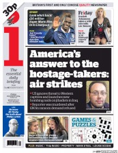 I Newspaper (UK) Newspaper Front Page for 22 August 2014
