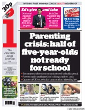 I Newspaper (UK) Newspaper Front Page for 23 September 2014