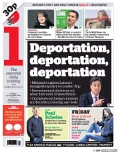 I Newspaper (UK) Newspaper Front Page for 24 October 2014