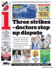 I Newspaper (UK) Newspaper Front Page for 24 February 2016