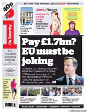 I Newspaper (UK) Newspaper Front Page for 25 October 2014