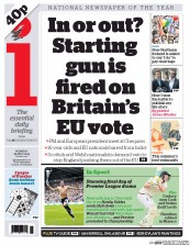 I Newspaper (UK) Newspaper Front Page for 25 May 2015