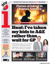 I Newspaper (UK) Newspaper Front Page for 26 November 2014