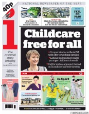 I Newspaper (UK) Newspaper Front Page for 26 May 2015