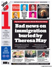 I Newspaper (UK) Newspaper Front Page for 27 November 2014