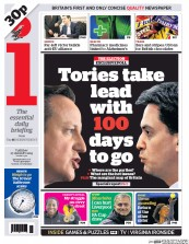 I Newspaper (UK) Newspaper Front Page for 27 January 2015