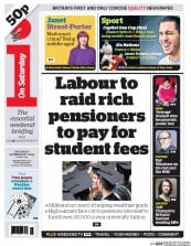 I Newspaper (UK) Newspaper Front Page for 28 February 2015