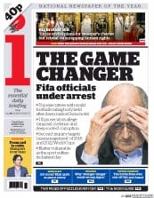 I Newspaper (UK) Newspaper Front Page for 28 May 2015