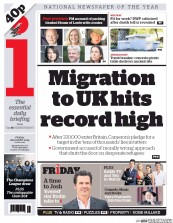 I Newspaper (UK) Newspaper Front Page for 28 August 2015