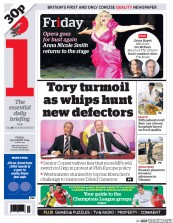 I Newspaper (UK) Newspaper Front Page for 29 August 2014