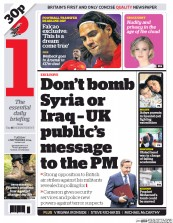 I Newspaper (UK) Newspaper Front Page for 2 September 2014