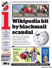I Newspaper (UK) Newspaper Front Page for 2 September 2015