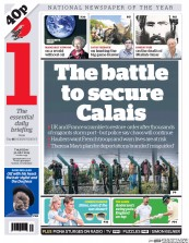 I Newspaper (UK) Newspaper Front Page for 30 July 2015