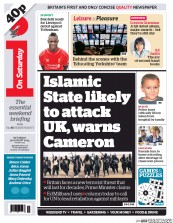 I Newspaper (UK) Newspaper Front Page for 30 August 2014