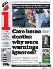 I Newspaper (UK) Newspaper Front Page for 3 September 2015