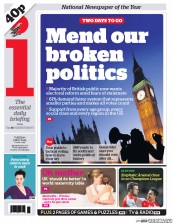 I Newspaper (UK) Newspaper Front Page for 5 May 2015