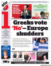 I Newspaper (UK) Newspaper Front Page for 6 July 2015