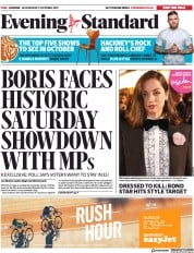 London Evening Standard (UK) Newspaper Front Page for 10 October 2019