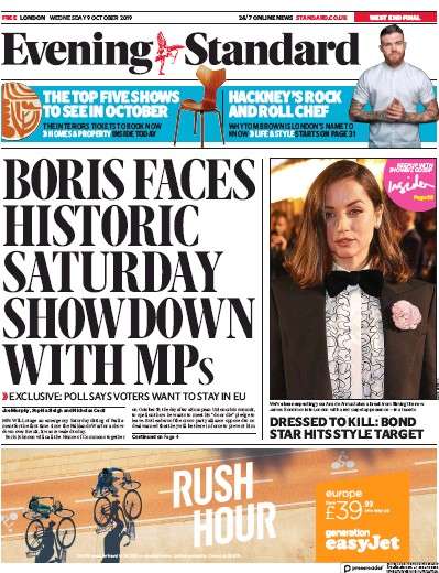London Evening Standard Newspaper Front Page (UK) for 10 October 2019