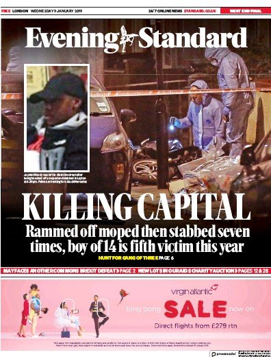 London Evening Standard Newspaper Front Page (UK) for 10 January 2019