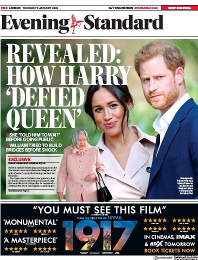 London Evening Standard Newspaper Front Page (UK) for 10 January 2020
