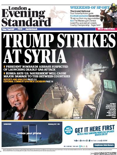 London Evening Standard Newspaper Front Page (UK) for 10 April 2017