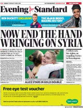 London Evening Standard (UK) Newspaper Front Page for 10 April 2018