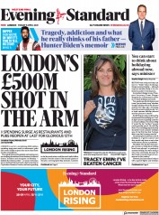 London Evening Standard front page for 10 April 2021