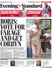 London Evening Standard (UK) Newspaper Front Page for 10 June 2019