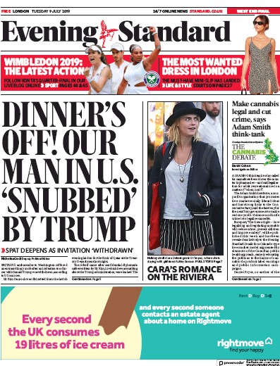 London Evening Standard Newspaper Front Page (UK) for 10 July 2019