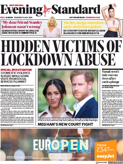 London Evening Standard Newspaper Front Page (UK) for 10 July 2020