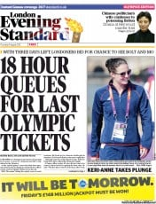 London Evening Standard Newspaper Front Page (UK) for 10 August 2012