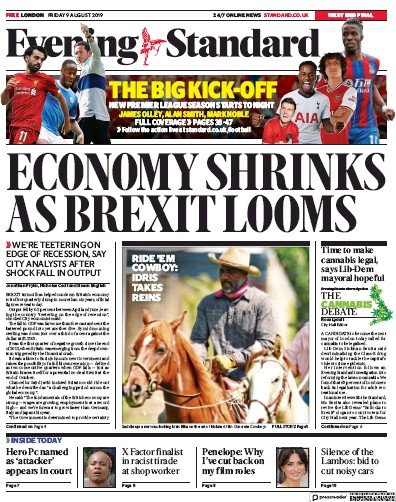 London Evening Standard Newspaper Front Page (UK) for 10 August 2019
