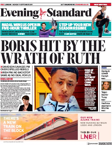 London Evening Standard Newspaper Front Page (UK) for 10 September 2019