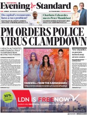 London Evening Standard front page for 10 September 2020