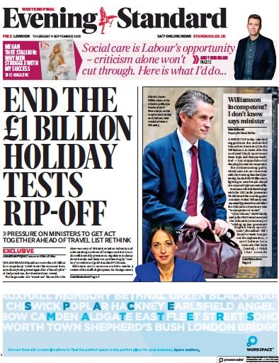 London Evening Standard (UK) Front Page for 9 September