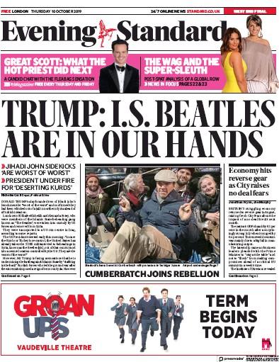 London Evening Standard Newspaper Front Page (UK) for 11 October 2019