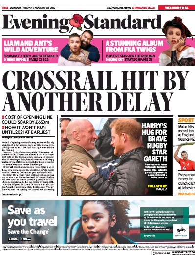 London Evening Standard Newspaper Front Page (UK) for 11 November 2019