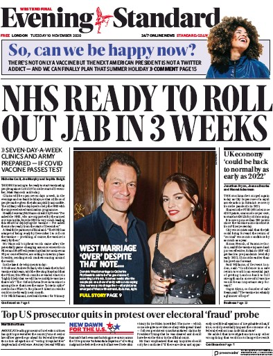 London Evening Standard Newspaper Front Page (UK) for 11 November 2020