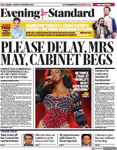 London Evening Standard Newspaper Front Page (UK) for 11 December 2018