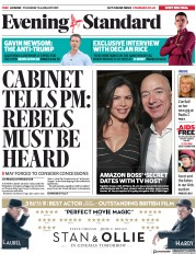 London Evening Standard (UK) Newspaper Front Page for 11 January 2019