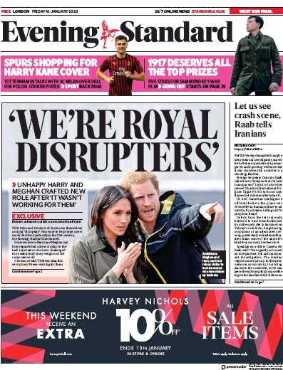 London Evening Standard Newspaper Front Page (UK) for 11 January 2020