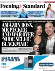 London Evening Standard () Newspaper Front Page for 11 February 2019