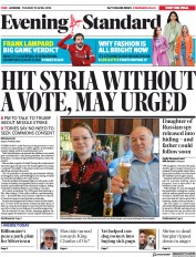 London Evening Standard (UK) Newspaper Front Page for 11 April 2018